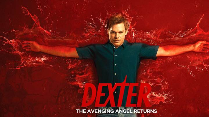 Dexter Laying On Bloody Red Background
